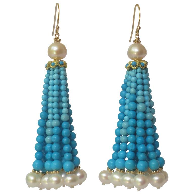 Graduated Turquoise Bead And Pearl Tel Earrings W 14 K Gold Beads Wire