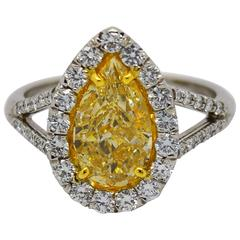 2.01 Carat Natural Yellow Pear Shaped Diamond Gold Platinum Ring