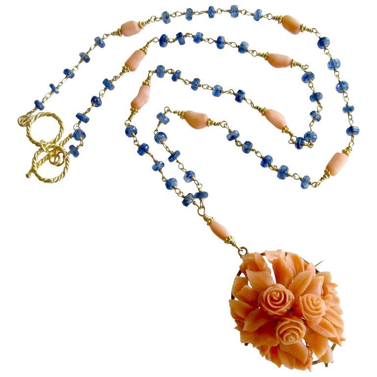Antique Carved Coral Blue Kyanite Gold Necklace