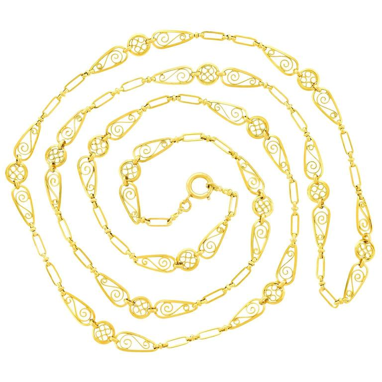 Fabulous 44-inch-long Antique French Filigree Gold Necklace