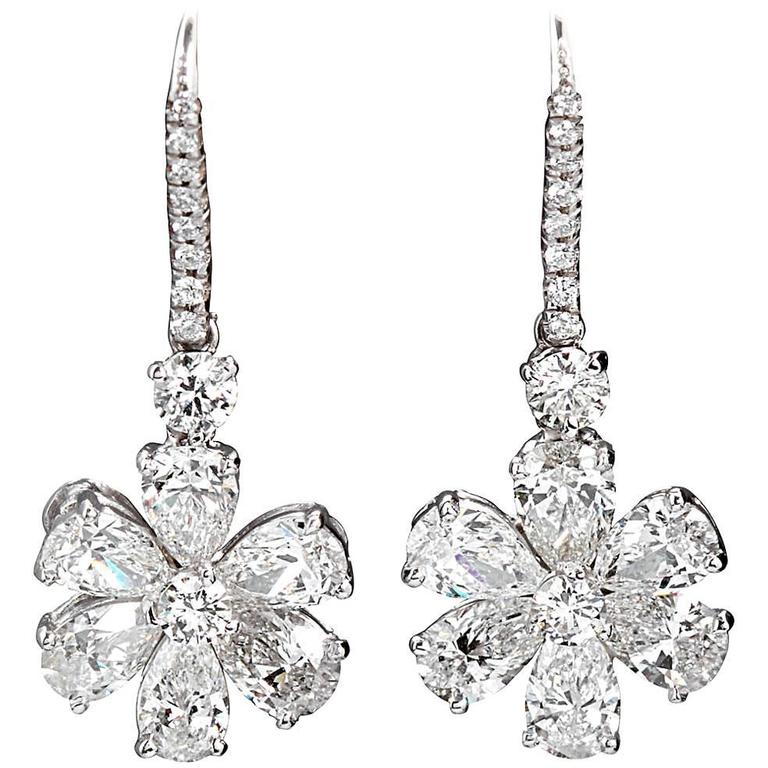 Pear Shape Diamond Platinum Flower Ear Pendants Earrings
