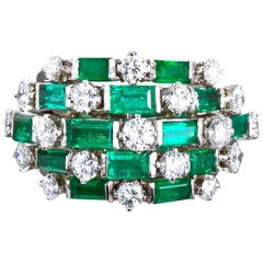 Emeralds Diamond Cocktail Dome Boulé Ring