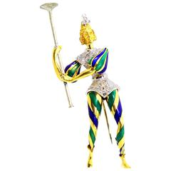 Enamel Diamond Gold Court Performer Brooch
