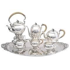 1930s 6 Piece Silver Tea and Coffee Service with Tray