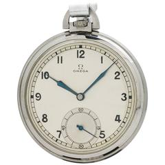 Omega Stainless Steel Pocket Watch