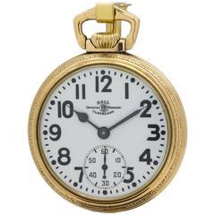 Hamilton Ball Yellow Gold Railroad Pocket Watch