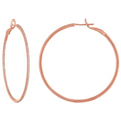 0.75 Carats Diamond Rose Gold Hoop Earrings