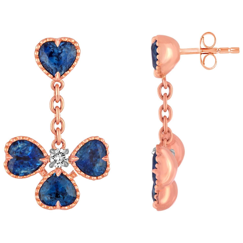 4.53 Carats Heart Shaped Sapphire Diamond Gold Dangle Earrings