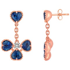 4.53 Carats Heart Shaped Sapphire Diamond Gold Dangle Earrings