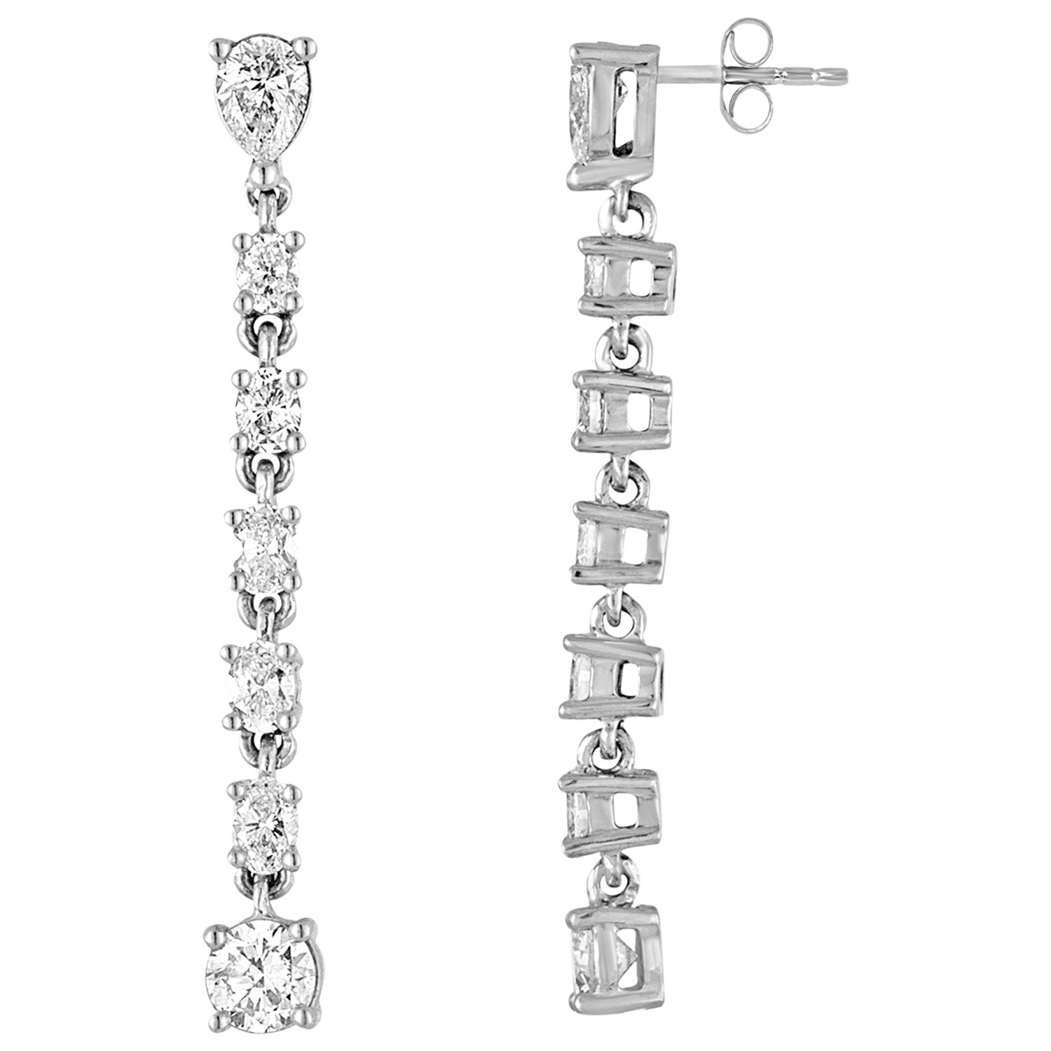 1.56 Carats Diamond Gold Long Dangle Earrings