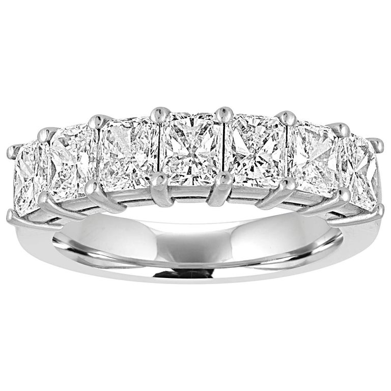 2.15 Carats Radiant Cut Diamond Platinum Half Band Ring For Sale