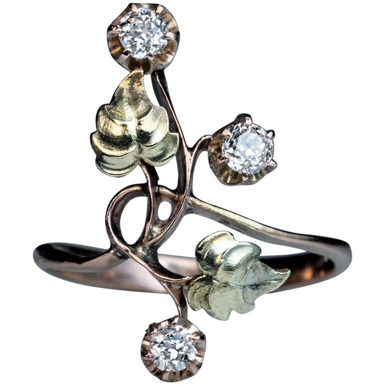 Antique Art Nouveau Diamond Two Color Gold Flower Ring 1