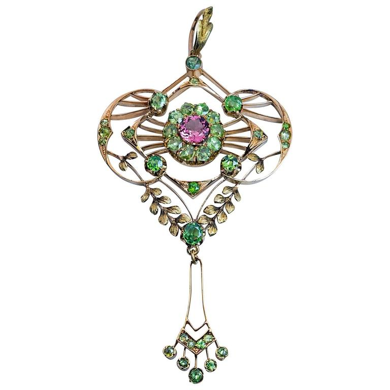 Belle Epoque Antique Demantoid Tourmaline Gold Pendant For Sale