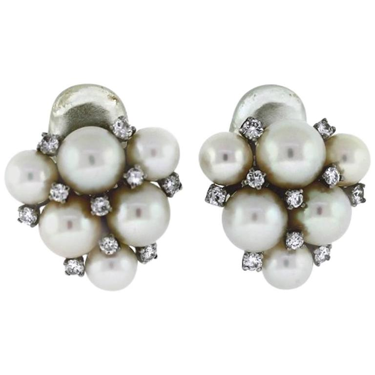 Pearl Diamond Gold Cluster Earrings