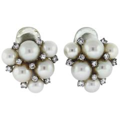 Pearl Diamond Gold Cluster Earrings