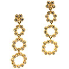 Gurhan Diamond Gold 4 Flower Drop Earrings