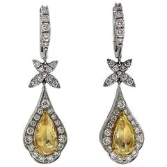 Rose Cut Yellow and Round Brilliant White Diamond Halo Gold Drop Earrings
