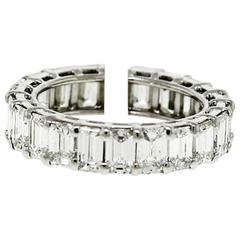 Handmade Emerald Cut Diamond Platinum Wire Eternity Band Ring
