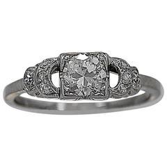 Art Deco .50 Carat Diamond Gold Engagement Ring