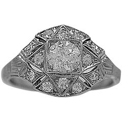 Art Deco .40 Carat Diamond Platinum Engagement Ring