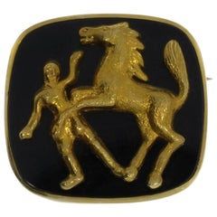 Gold Horse and Rider Onyx Brooch