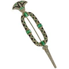 1980s Onyx Emerald Diamond Gold Brooch