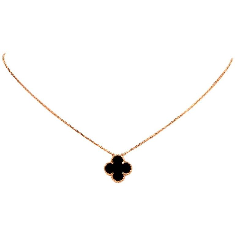 Van cleef and arpels alhambra onyx gold clover pendant necklace at van cleef arpels alhambra onyx gold clover pendant necklace for sale aloadofball Choice Image