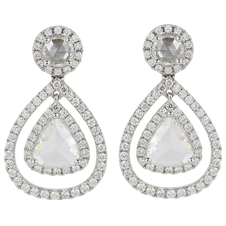 2.13 Carat Rose Cut Diamond Gold Pear Drop Earrings
