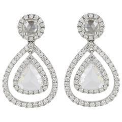 Rose Cut Diamond Gold Pear Drop Earrings