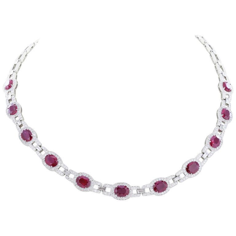 Burma Ruby Diamond Platinum Necklace 1