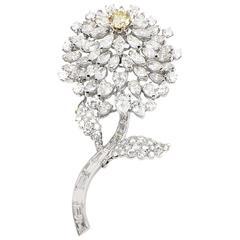 Light Fancy Yellow and White Diamond Platinum Flower Brooch