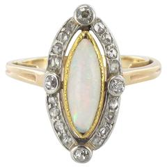 1900s French Antique Opal Diamond Gold Ring