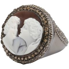 "Amedeo ""Couples"" Cameo Brown Diamond Rhodium Plated Sterling Silver Ring"