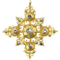 18th Century Spanish Rose Cut Oil Vinegar Diamonds Gold Foiled Cordoba Cross