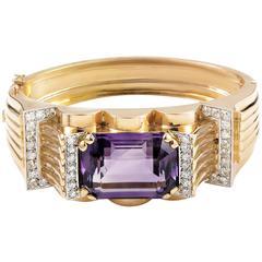 Antique Amethyst Diamond Gold Platinum Bracelet