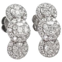 2.70 Carats Diamond Triple Pave Gold Drop Cluster Earrings