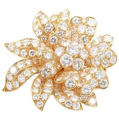 Van Cleef & Arpels Diamond Gold Flower Brooch