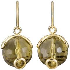 Carina Citrine Bead Gold Earrings