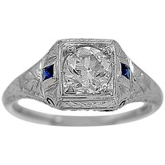 Antique .64 Carat GIA Cert Diamond Sapphire Gold Engagement Ring
