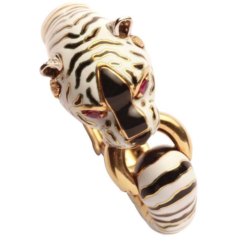 Frascarolo Italy White Enamel Gold Tiger Bracelet