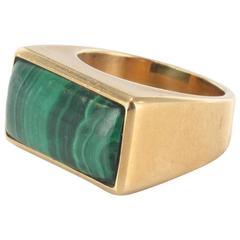 1950s Malachite Gold Signet Ring
