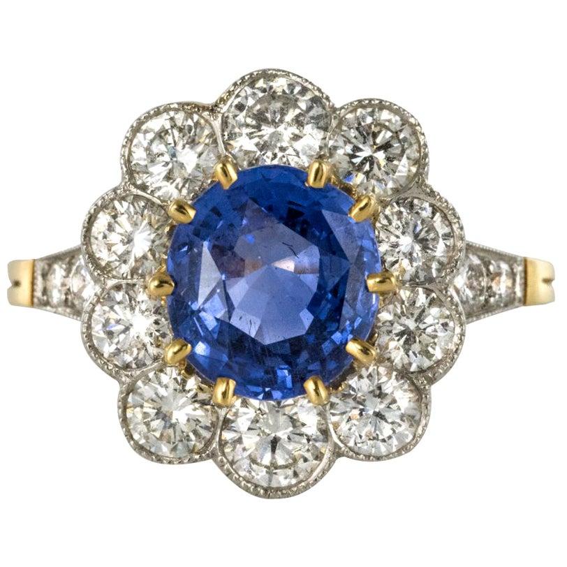 Blue Sapphire Diamond Gold Platinum Ring