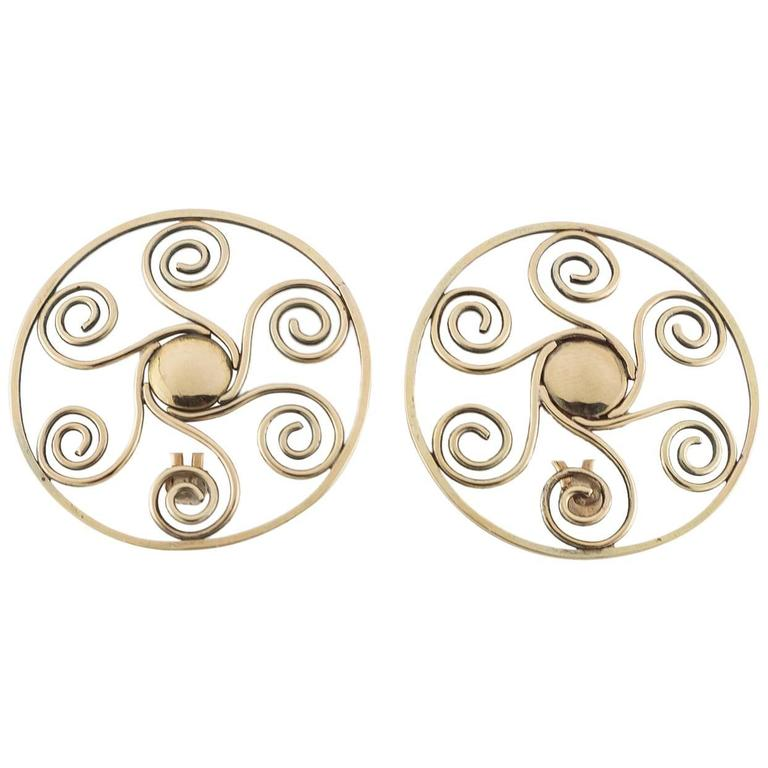 Large Artsy Gold Spiral Sun-Like Clip-On Earrings