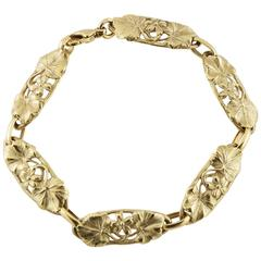 Arnould Art Nouveau 18K Gold Link Bracelet Re-Edition with Flowers and Vines