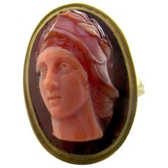 Antique Banded Agate Cameo Ring of Athena