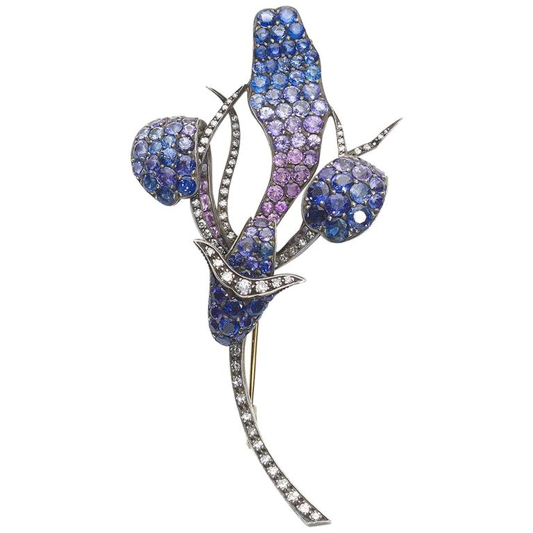 Shaded Sapphire Diamond Gold Flower Brooch For Sale
