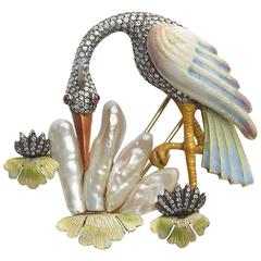 Pearl Diamond Silver Gold Crane Bird Brooch
