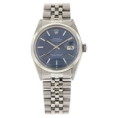 Rolex Stainless Steel Blue Dial Datejust Automatic Wristwatch Ref 1600
