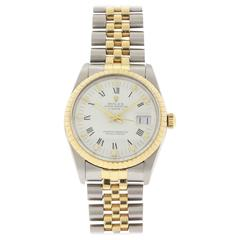 Rolex Stainless Steel Yellow Gold Oyster Perpetual Date Wristwatch