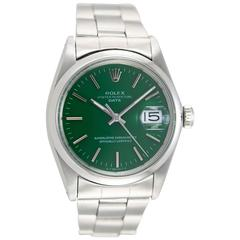 Rolex Stainless Steel Date Custom Green Dial Wristwatch Ref 1500